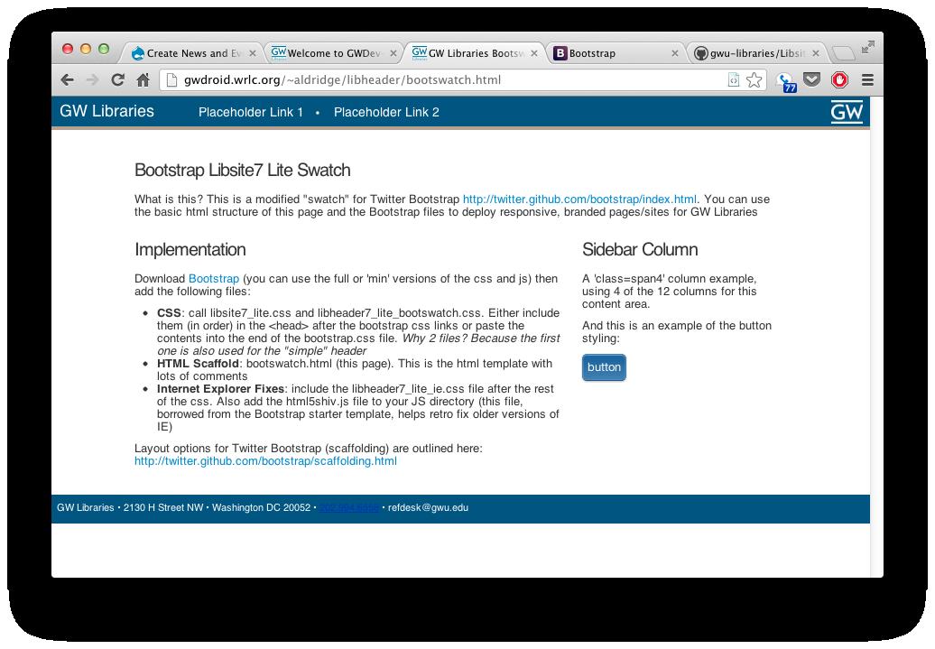 screenshot: Libraries bootswatch design