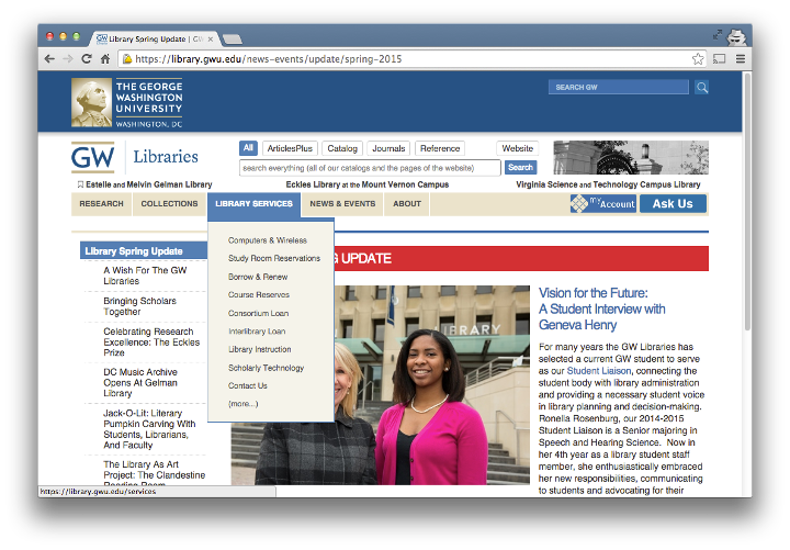 screenshot of the GW Libraries site in wide view (desktop)
