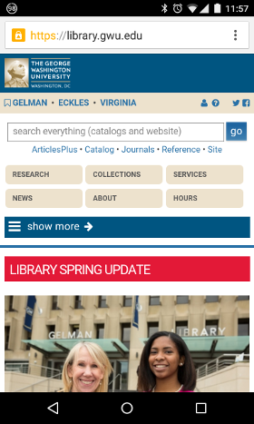 screenshot: GW Libraries site in narrow view (handheld)