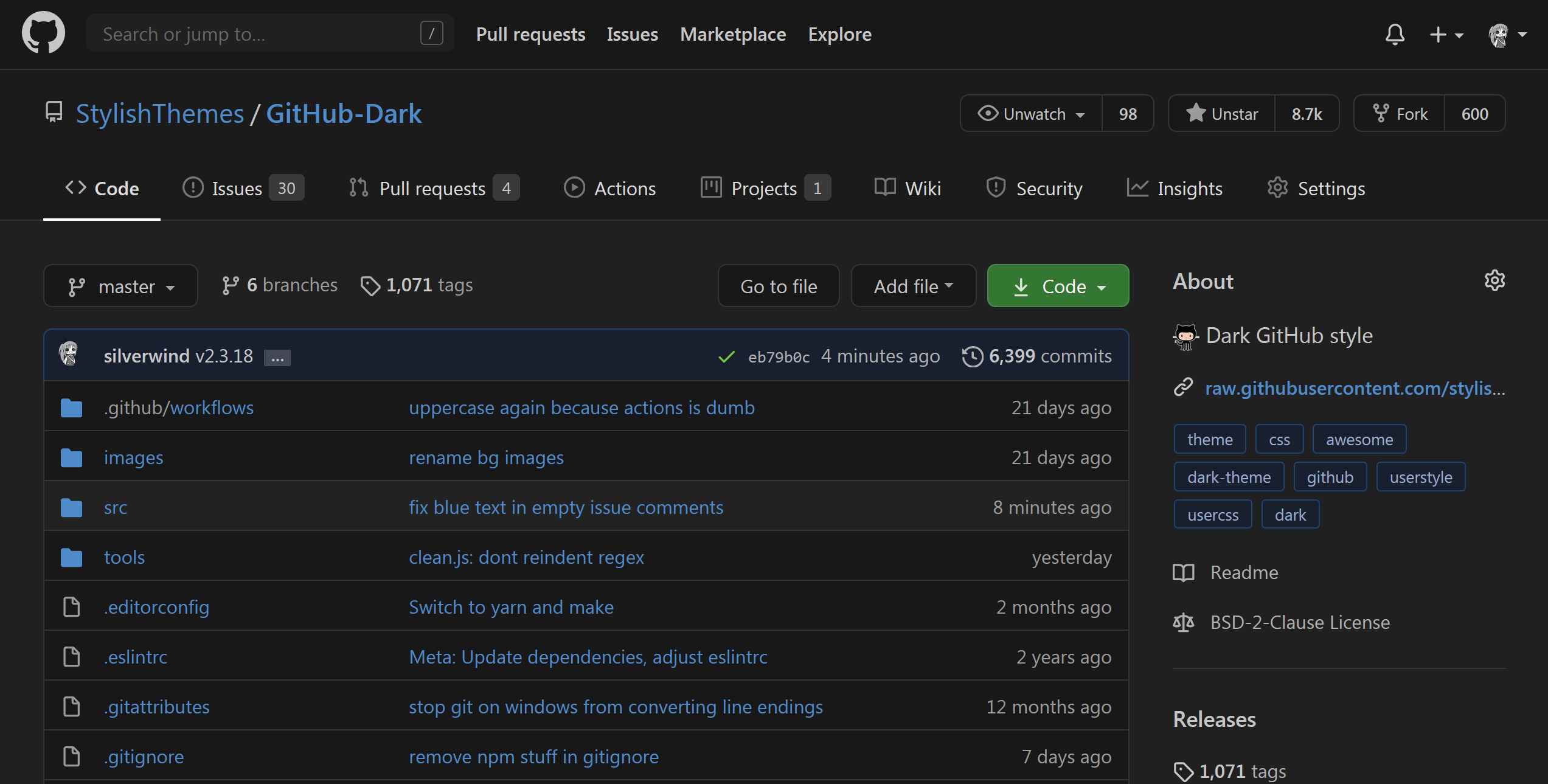 Preview of GitHub Dark
