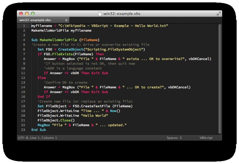 GitHub - SublimeText/VBScript: VBScript package for Sublime Text