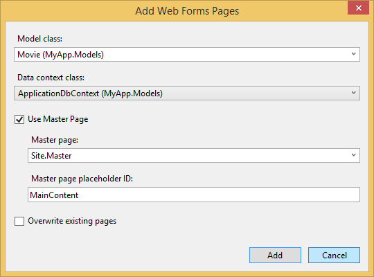 Add Web Forms Pages Dialog