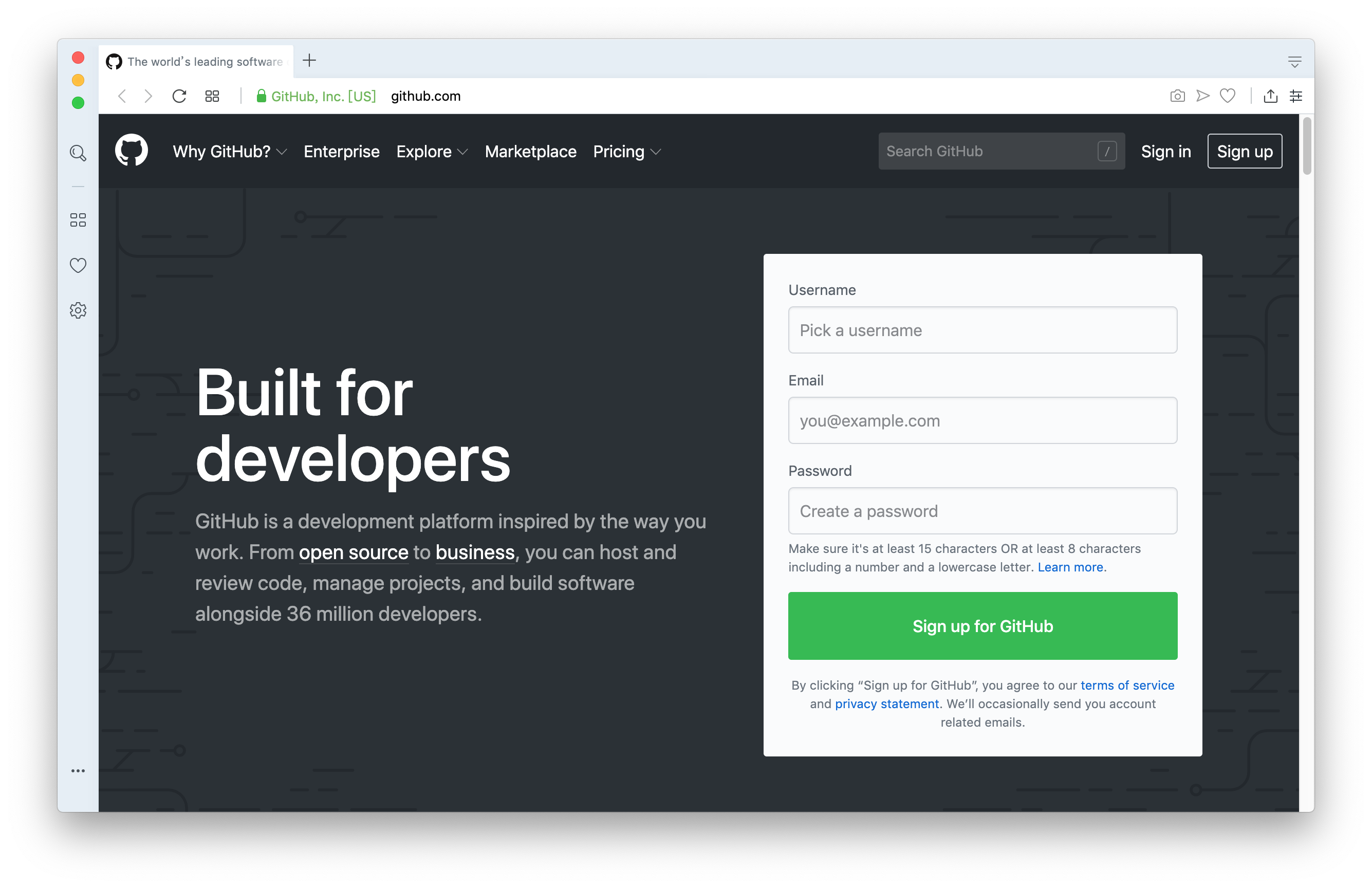 Sign up for Github