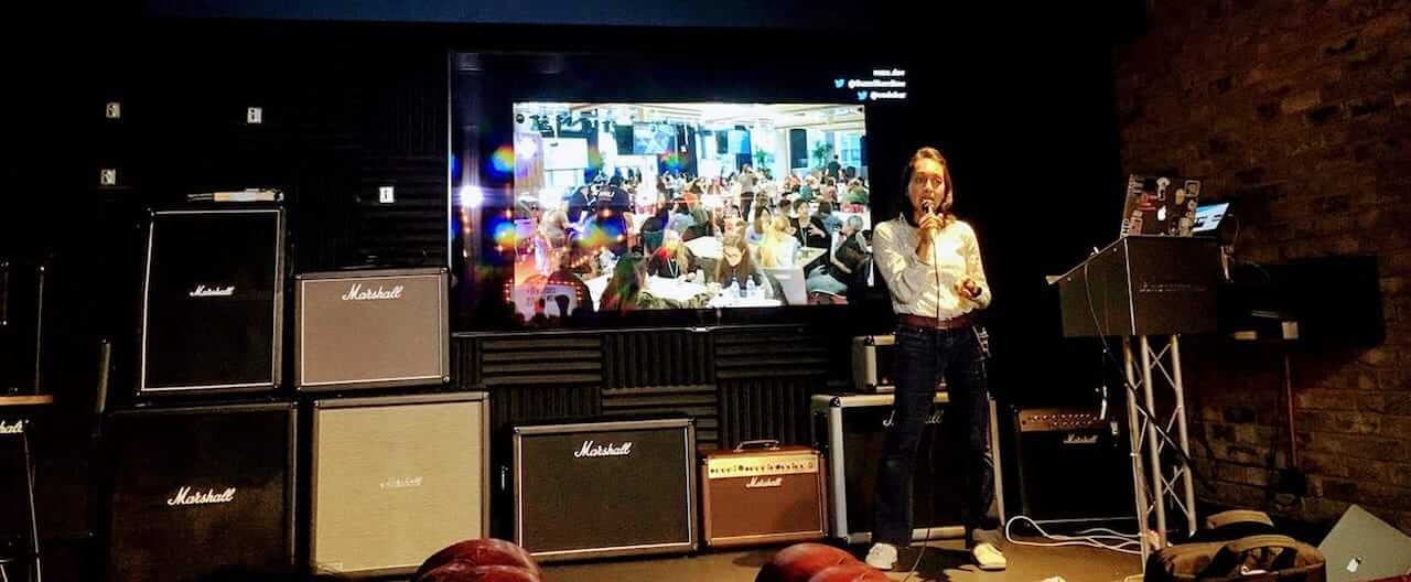 Suze Shardlow giving a tech talk at Ticketmaster UK
