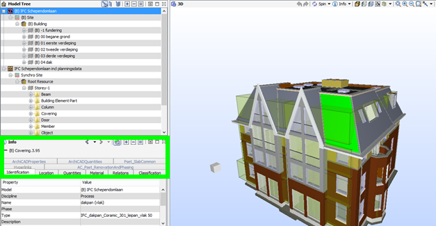 figure 2: Parameter structure before Synchro export, notice the property sets in the green rectangle.