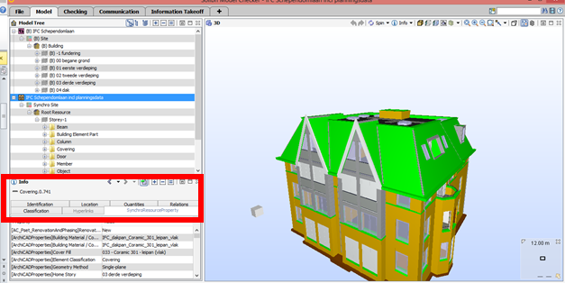 figure 3: Parameter structure after ifc export, notice the red rectangle: original parameter sets are merged into one SynchroResourcePropertyset.