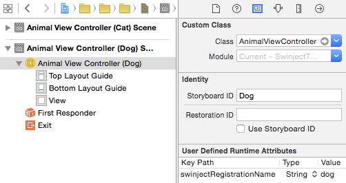 AnimalViewControllers with user defined runtime attribute in Animals.storyboard