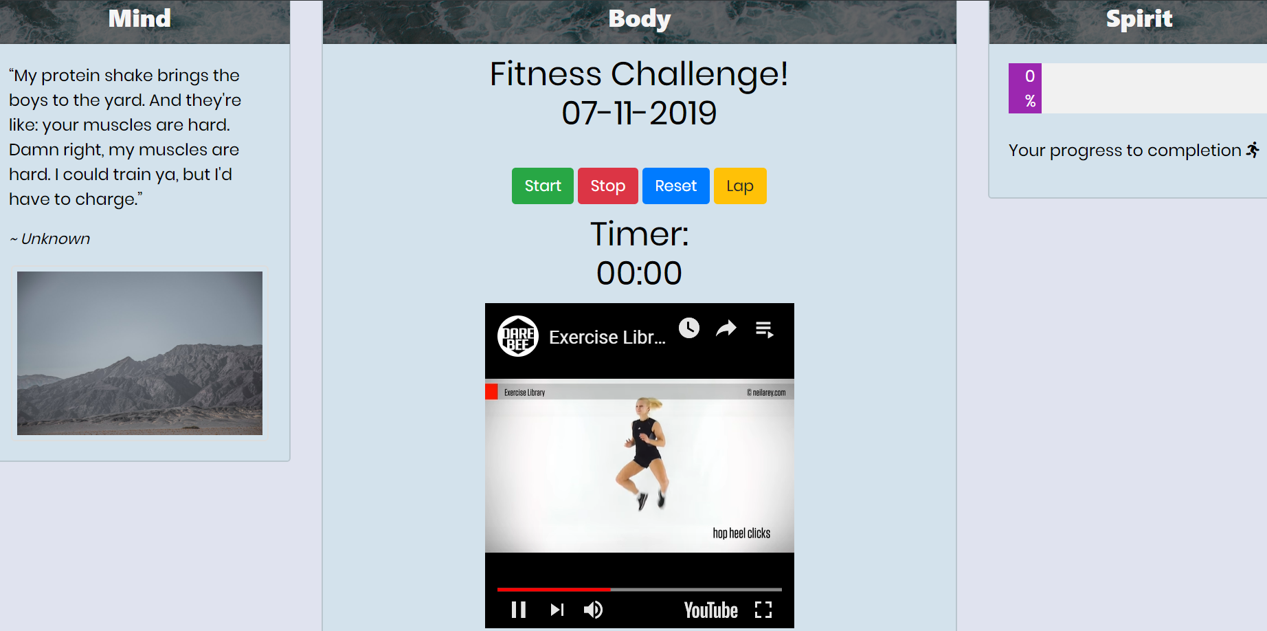 Fitness page