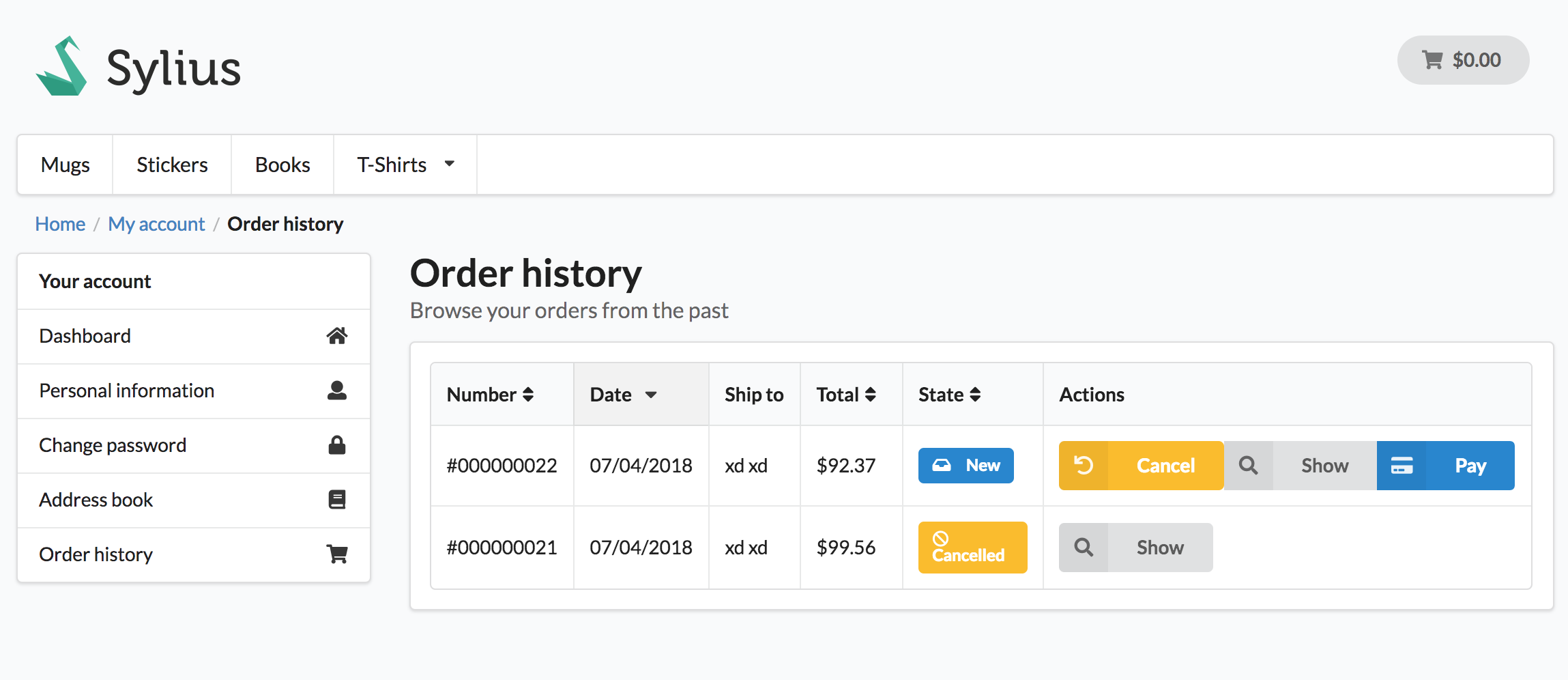 Screenshot showing the customer's orders page with cancel buttons