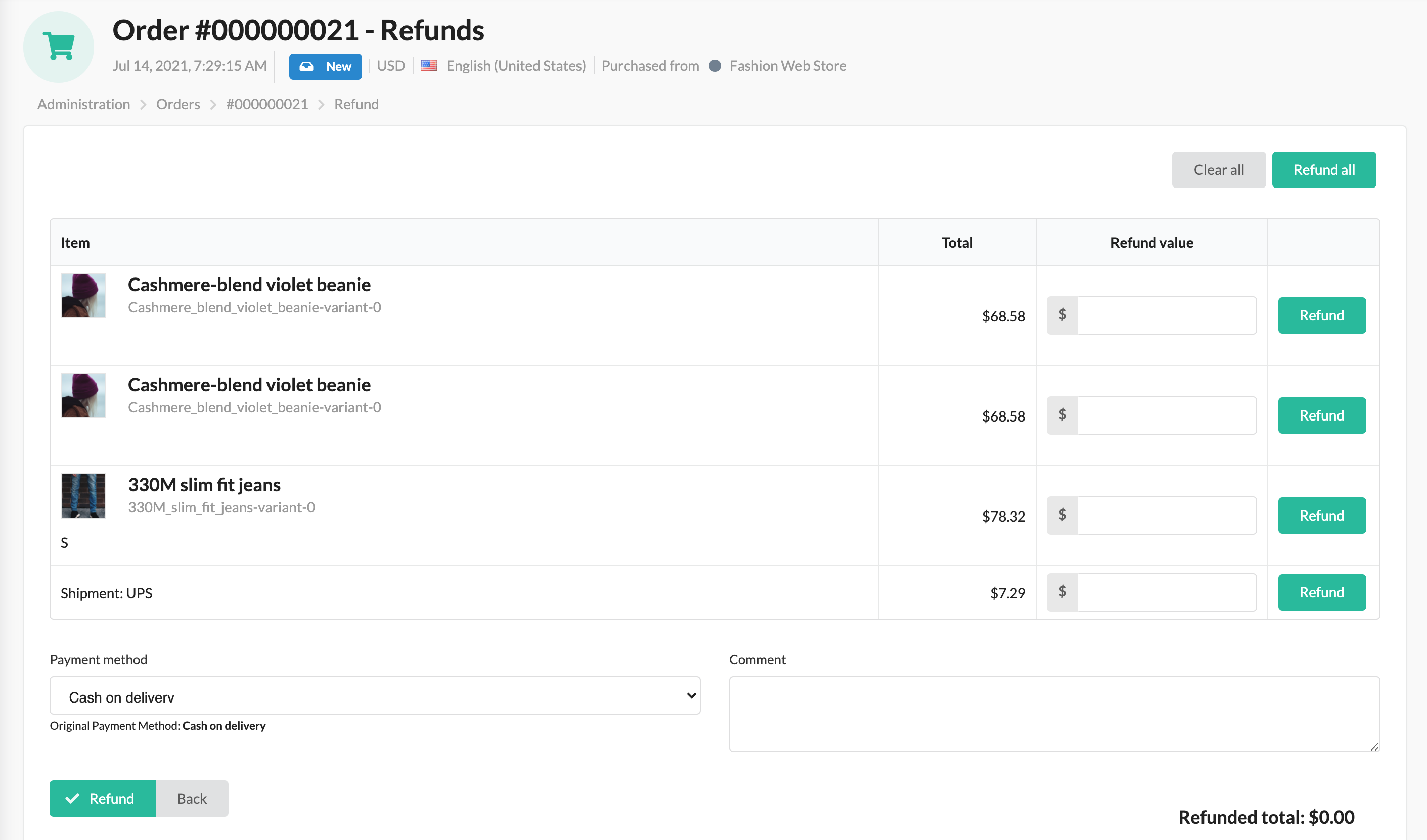 Screenshot showing order's refund section