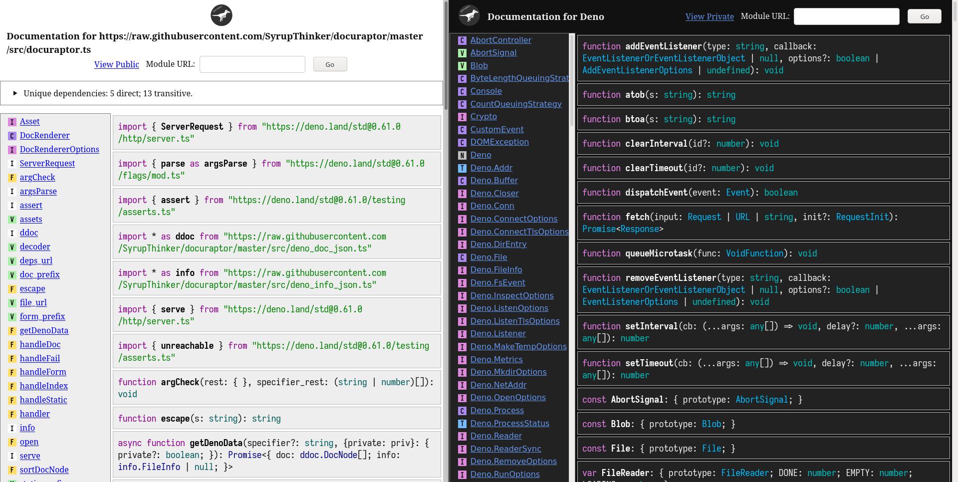 Docuraptor documentation screenshot