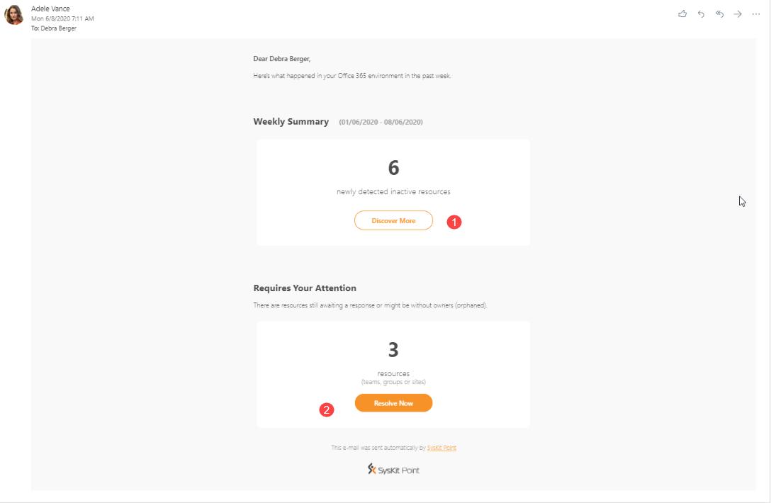 SysKit Point - Weekly Summary e-mail