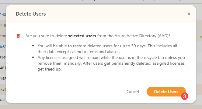Delete Users - Confirm action