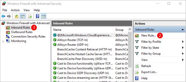 Windows Firewall - Adding a new inbound rule