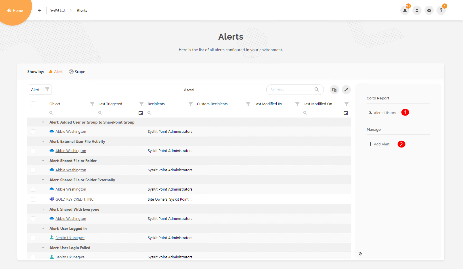 Alerts Overview screen – no row selection