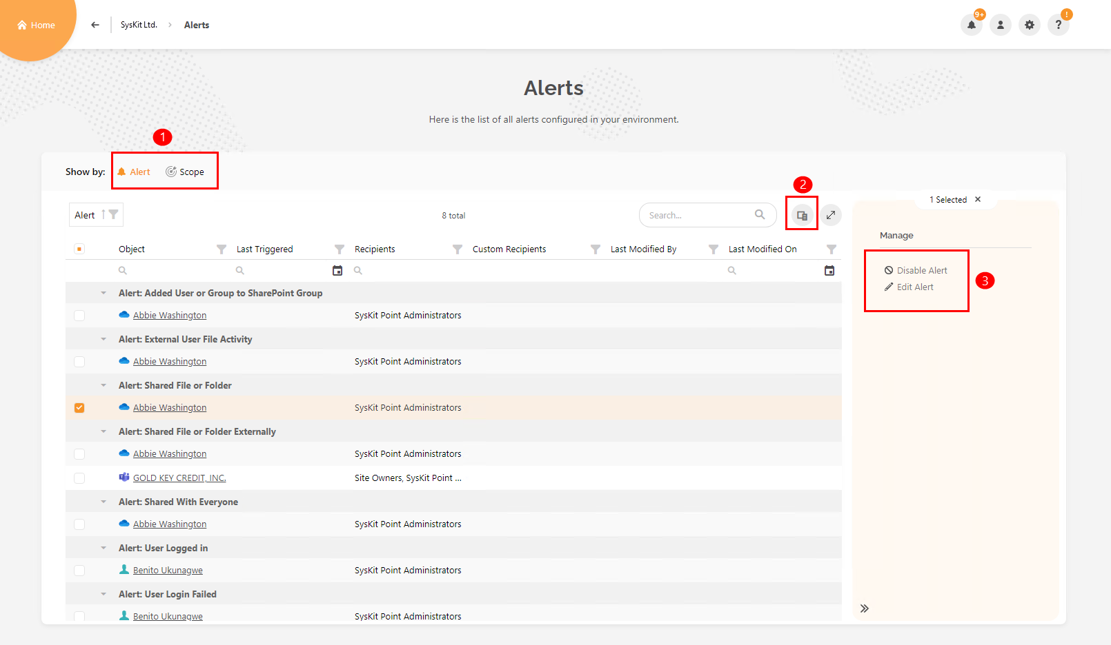 Alerts overview screen