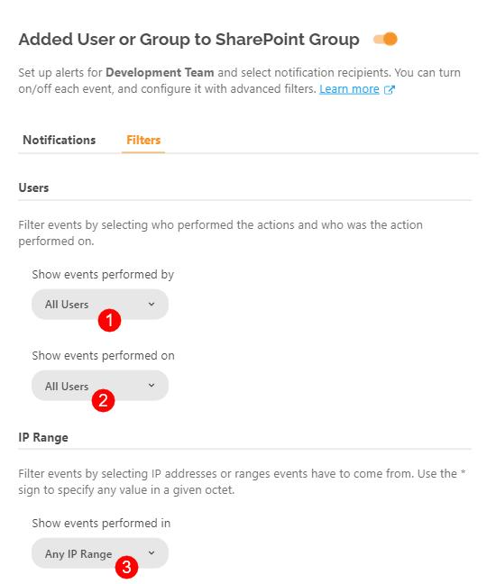 Configure Alerts - Filters tab