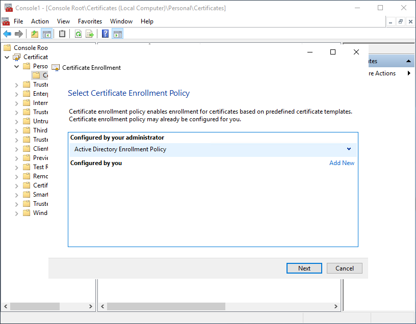MMC - Selecting the Active Directory Enrollment Policy