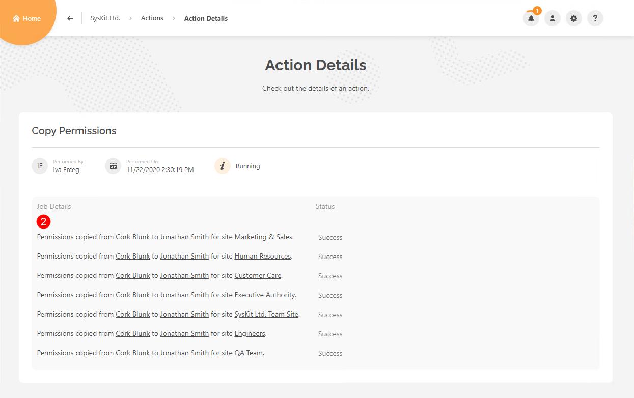 Actions Details - Copy User Permissions steps