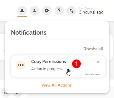 Notifications Menu - Copy User Permissions