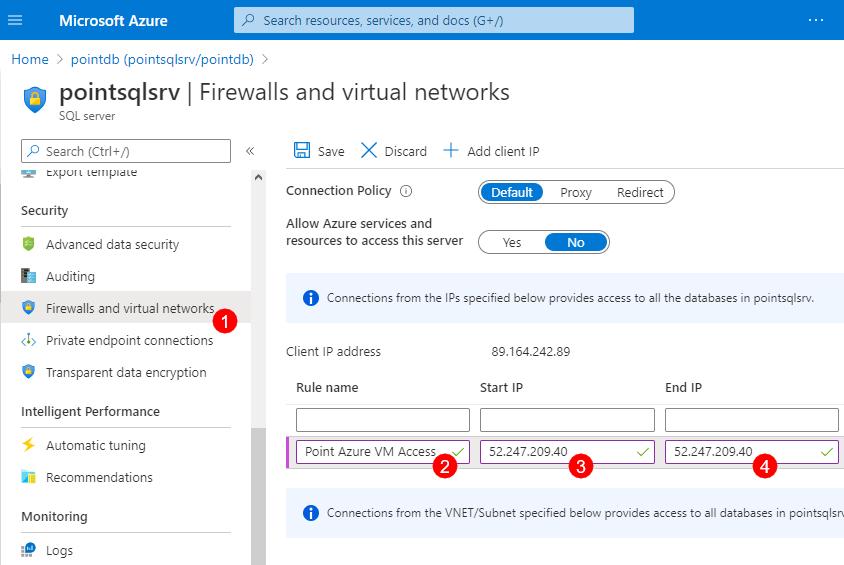 Azure SQL - Adding a firewall rule