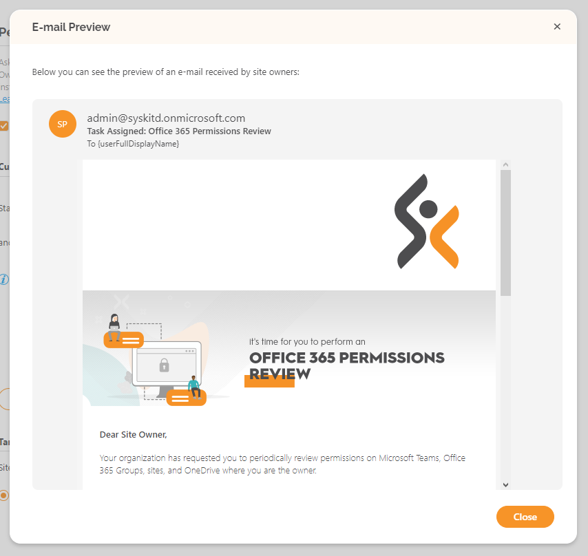 Permissions Review - Preview e-mail