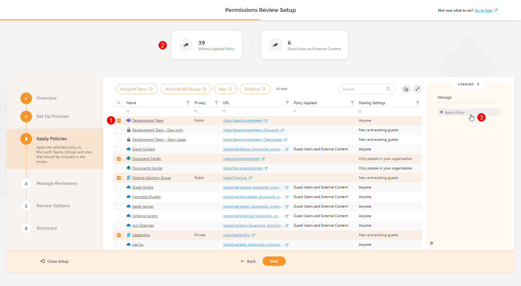 Automated Permissions Review Setup - Apply Policy