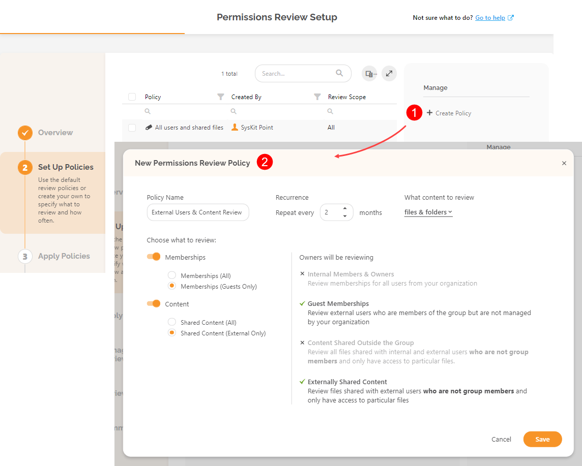 Automated Permissions Review Setup - New Policy