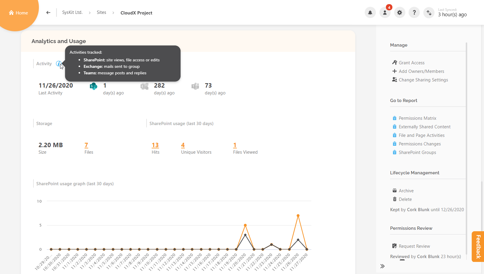 Details screen - Analytics and Usage tile - Activity section