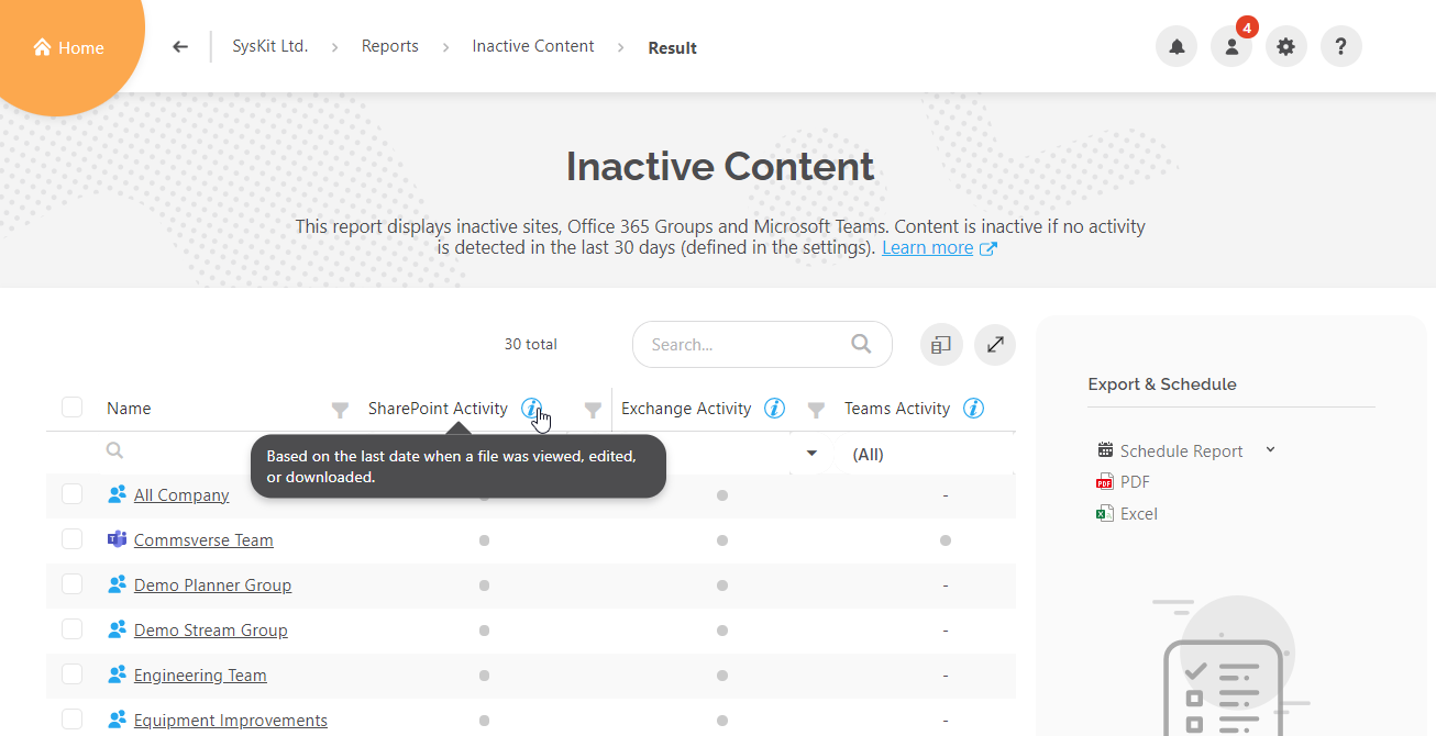 Inactive Content report - Activity column tooltip