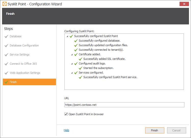 SysKit Point Configuration - Finish