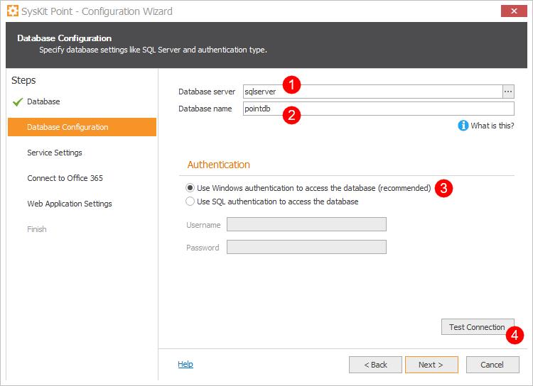 SysKit Point Configuration - Database Configuration