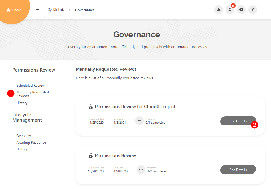 Governance - Manually Requested Reviews
