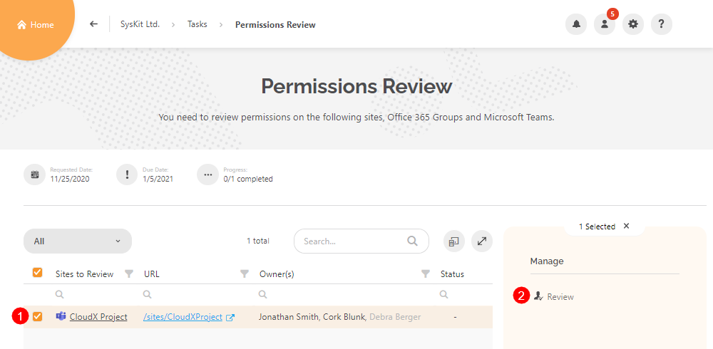 Permissions Review task screen
