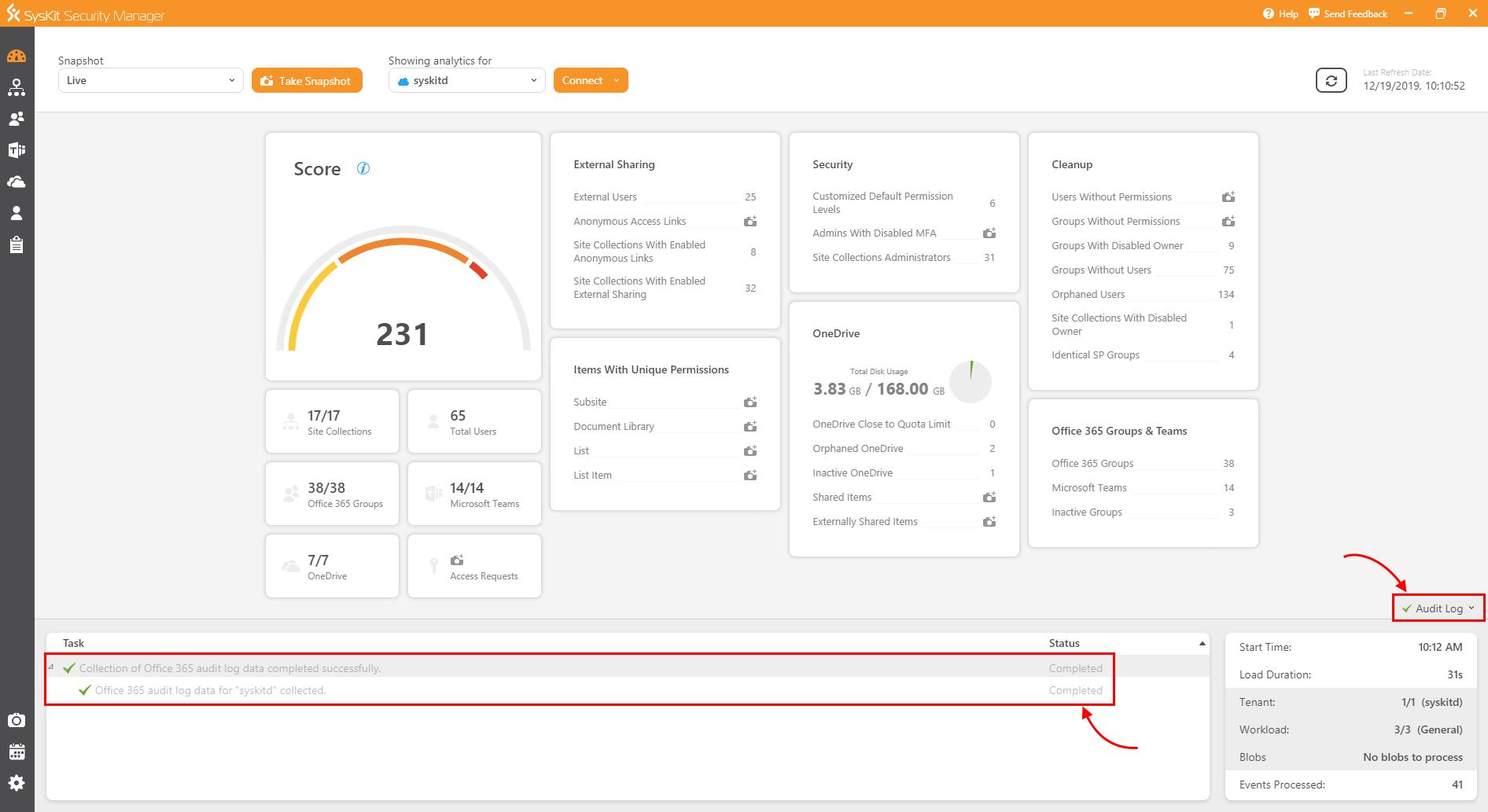 SysKit Security Manager - Audit Log status bar