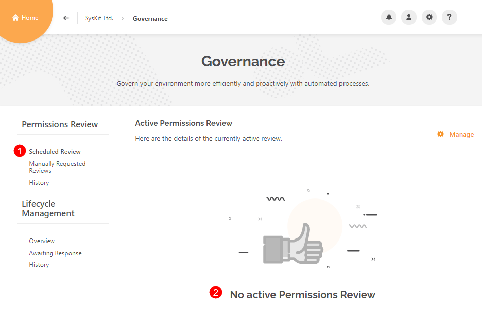 Governance - Scheduled Review category