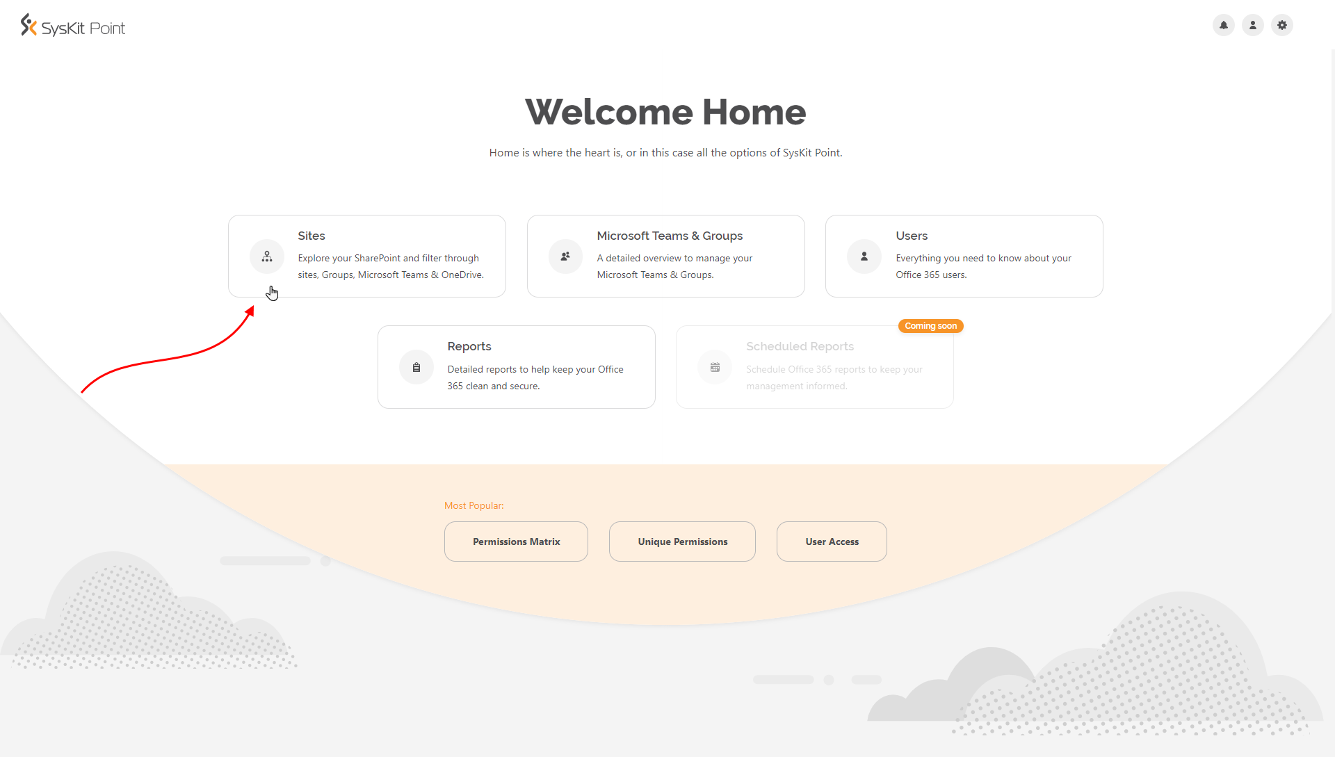 SysKit Point Home Screen - Click the Sites tile