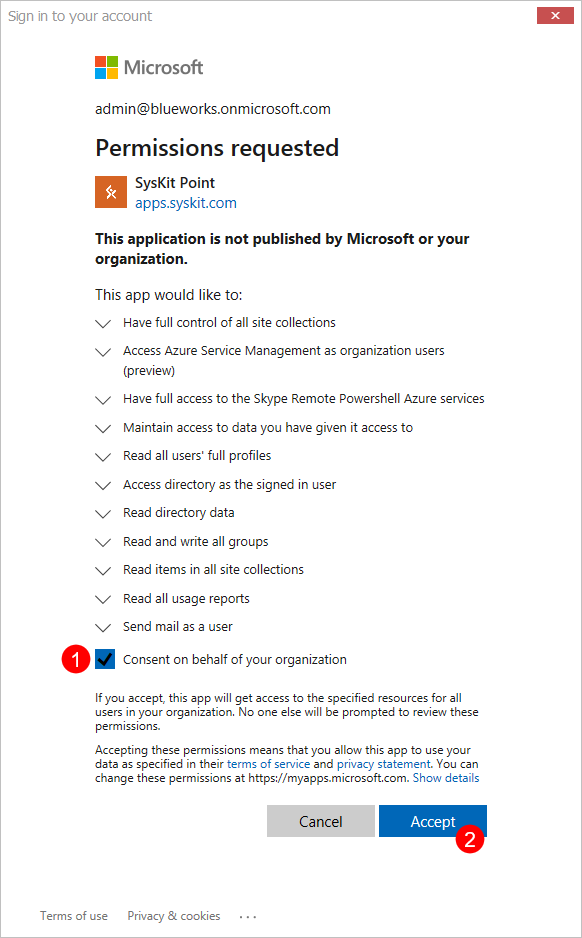 Microsoft 365 Global Admin Consent