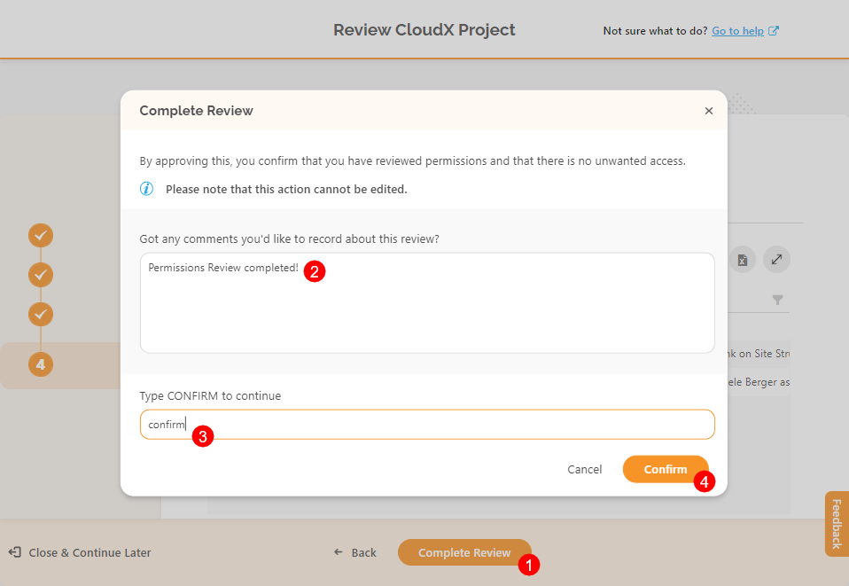 Complete Review dialog