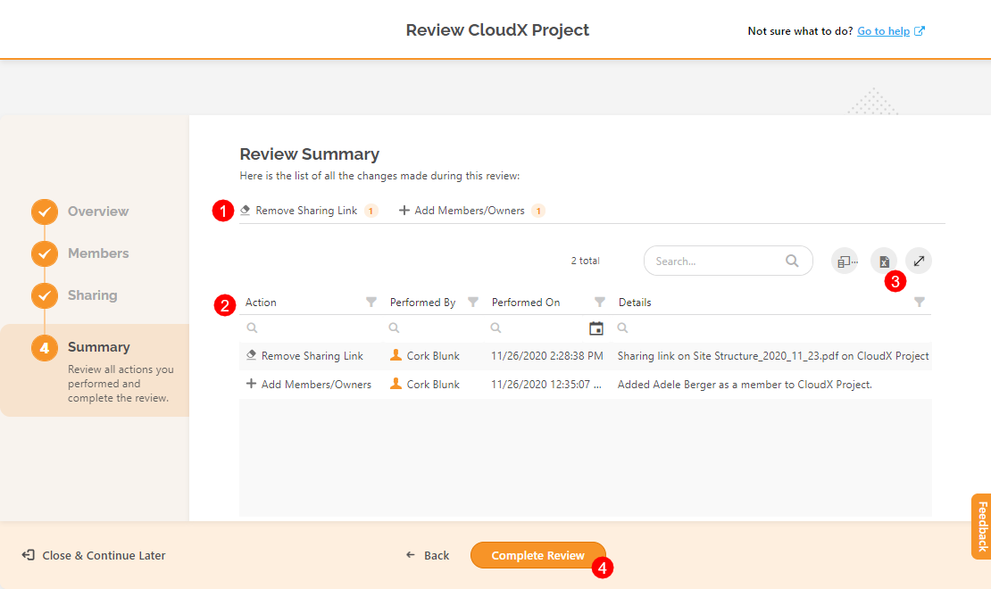 Permissions Review wizard - Summary step