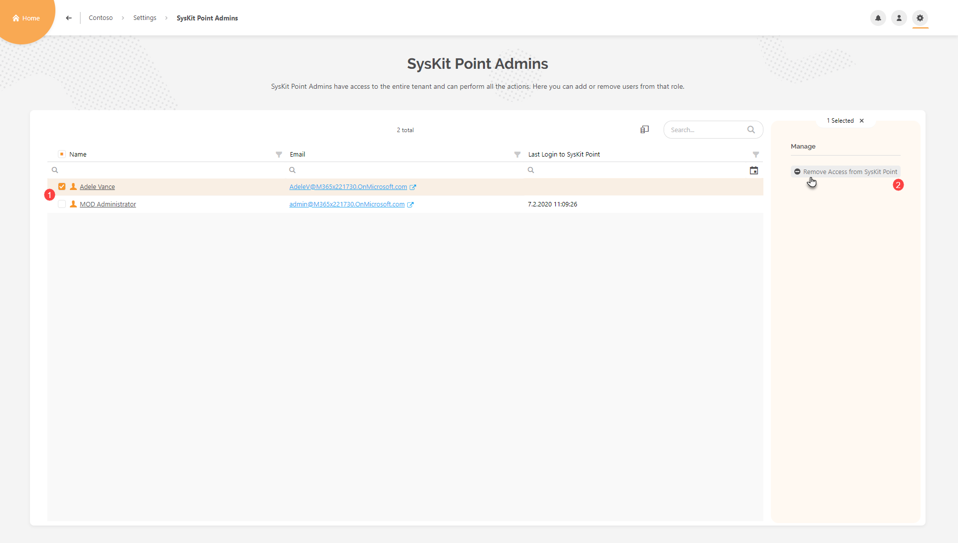 SysKit Point Admins report - Removing access from SysKit Point