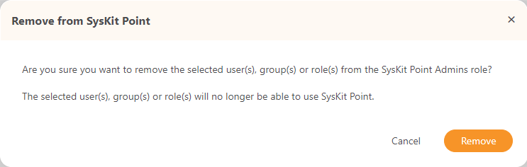 SysKit Point Admins Report - Confirmation dialog