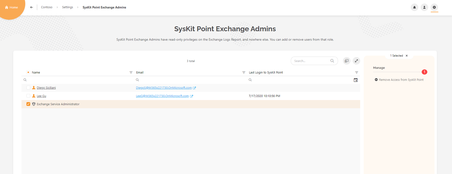 SysKit Point Exchange Admins report - Removing access