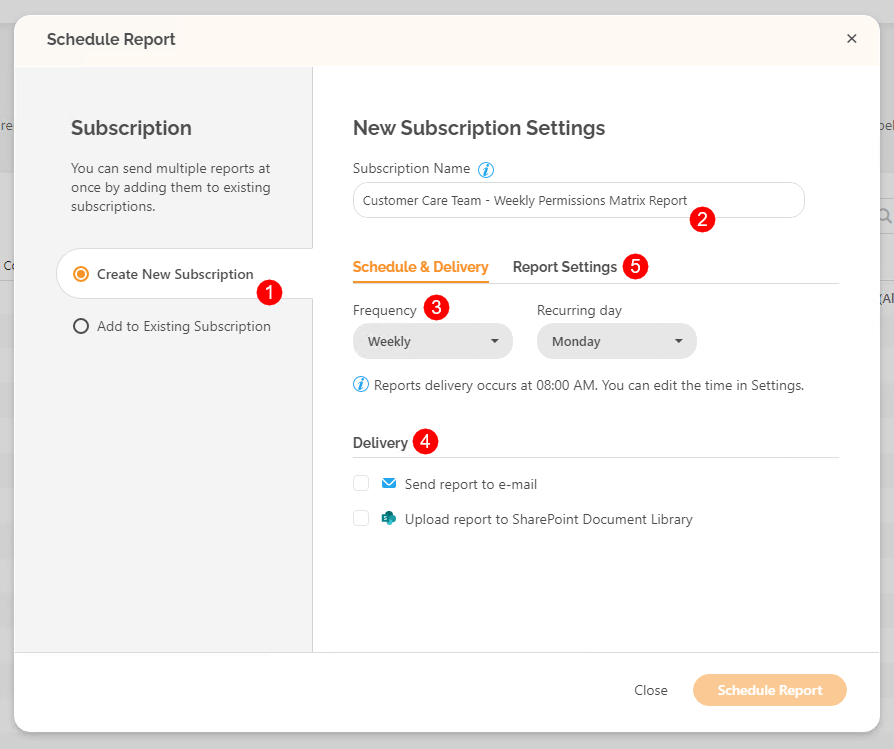 Schedule Report dialog - Create New Subscription