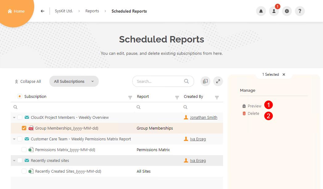 Scheduled Reports screen - Managing a report