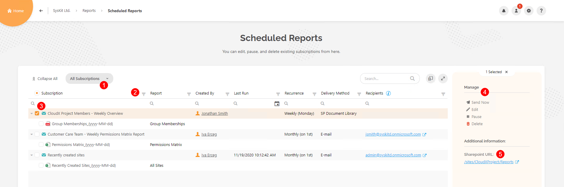 Scheduled Reports screen - Managing a subscription