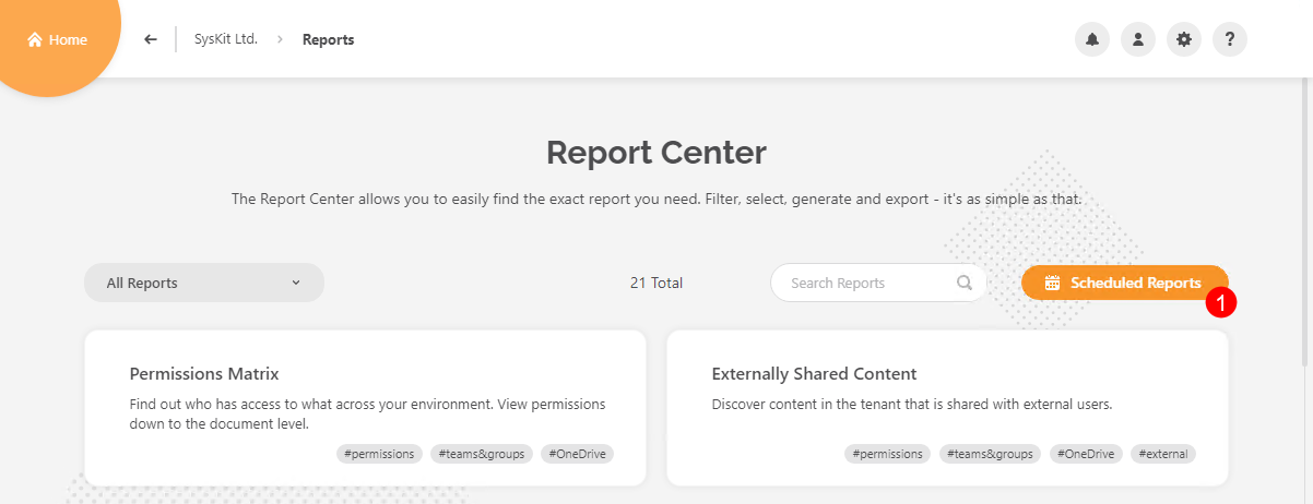 Report Center - Scheduled Reports