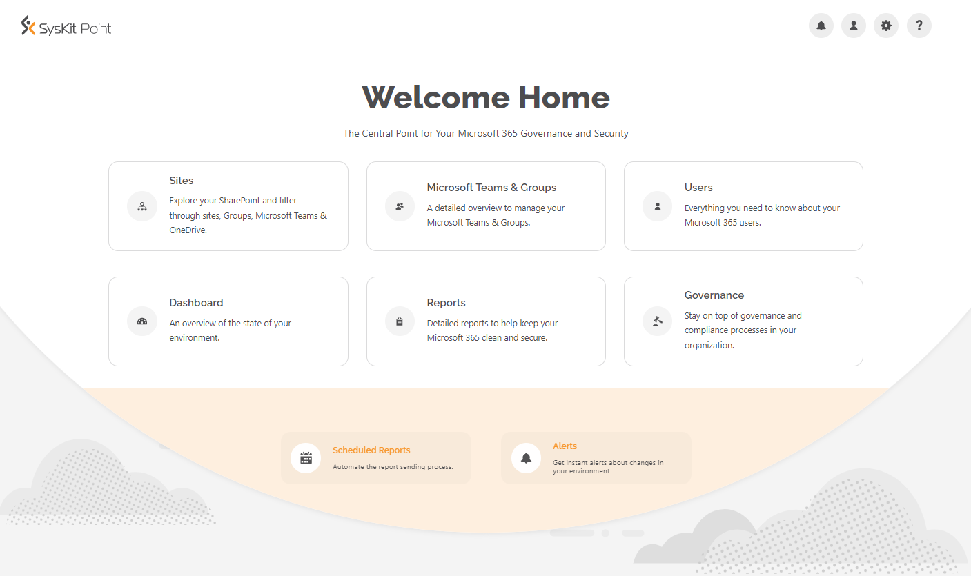 SysKit Point - Welcome Home screen