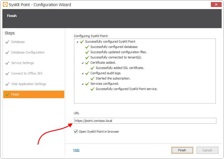 Configuration Wizard - SysKit Point web-app URL