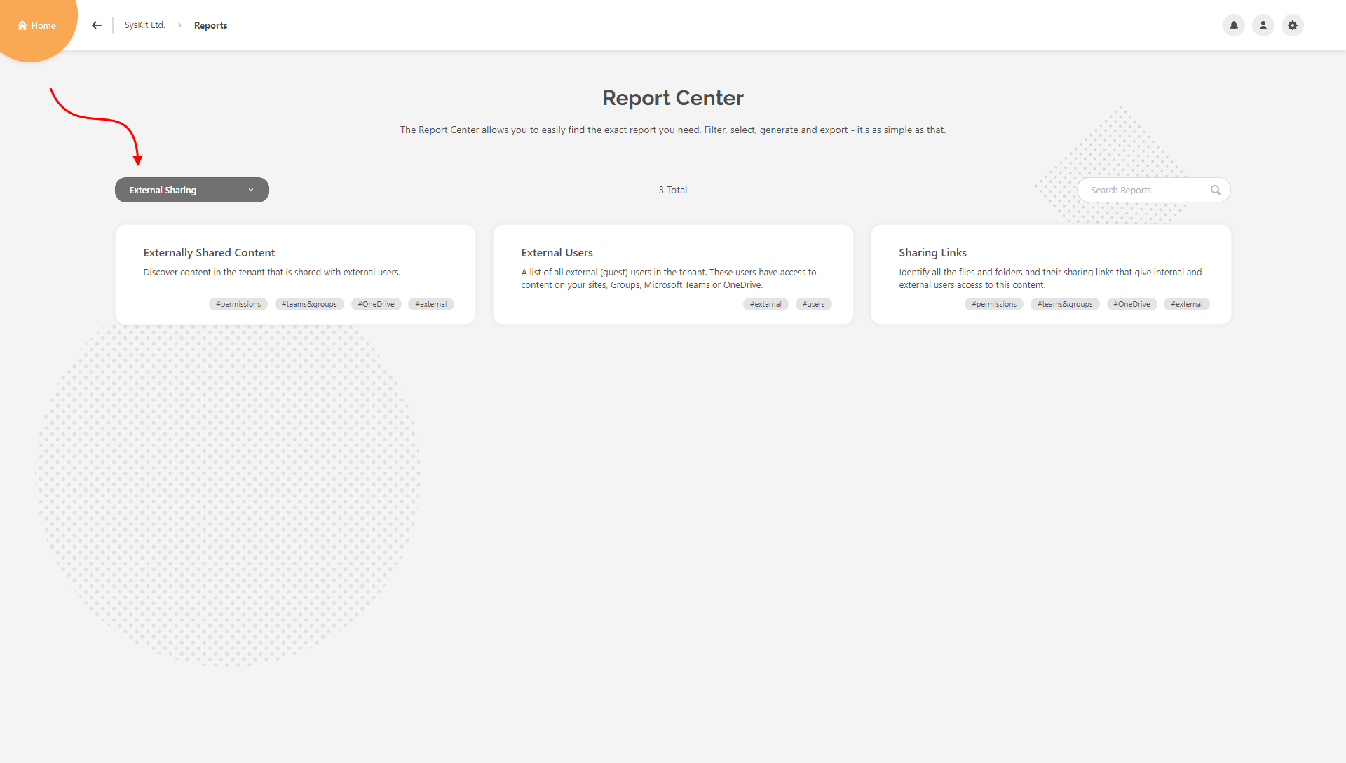 Report Center - External Sharing category selected